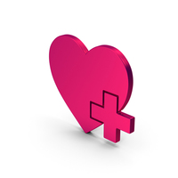 Symbol Heart With Medical Cross Metallic PNG & PSD Images