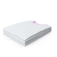 Male Crew Neck Folded Stacked White And Pink PNG & PSD Images