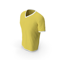 Male V Neck Worn White and Yellow PNG & PSD Images
