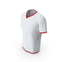 Male V Neck Worn White and Red PNG & PSD Images