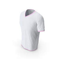 Male V Neck Worn White and Pink PNG & PSD Images