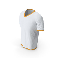 Male V Neck Worn White and Orange PNG & PSD Images