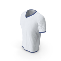 Male V Neck Worn White and Dark Blue PNG & PSD Images
