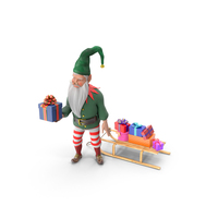 A Christmas Elf with Sleigh Offering a Gift PNG & PSD Images