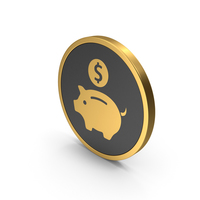 Gold Icon Piggy Bank PNG & PSD Images