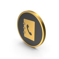 Gold Icon Phonebook PNG & PSD Images