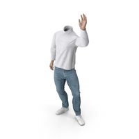 White Outfit Waving Pose PNG & PSD Images