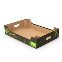 Cardboard Fruit Tray Box with Print PNG & PSD Images