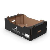 Corrugated Paper Fruit Tray Box Black Print PNG & PSD Images