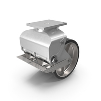 Twin Wheel Swivel Caster with Brake PNG & PSD Images