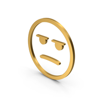 Emoji Angry / Bored Gold PNG & PSD Images