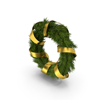 Christmas Wreath with Gold Ribbon PNG & PSD Images