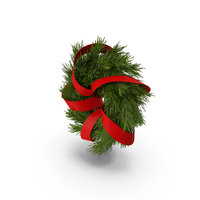 Christmas Wreath with Red Ribbon PNG & PSD Images