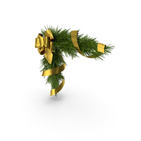Christmas Corner Decoration with Gold Bow and Ribbon PNG & PSD Images