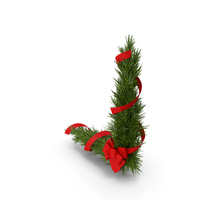 Christmas Corner Decoration with Red Bow and Ribbon PNG & PSD Images