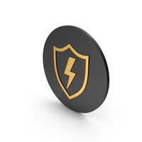 Shield With Lighting Gold Icon PNG & PSD Images