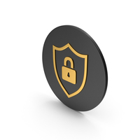 Shield Locked Gold Icon PNG & PSD Images