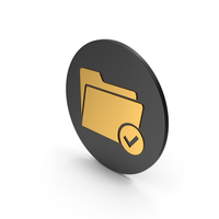 Tick Folder Gold Icon PNG & PSD Images