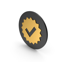 Guarantee / Checkmark Gold Icon PNG & PSD Images