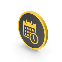 Icon Date And Time Yellow PNG & PSD Images