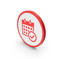 Icon Calendar With Checkmark Red PNG & PSD Images