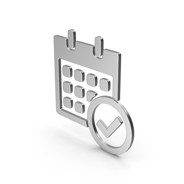 Symbol Calendar With Checkmark Silver PNG & PSD Images