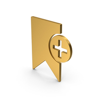 Symbol Add Bookmark Gold PNG & PSD Images