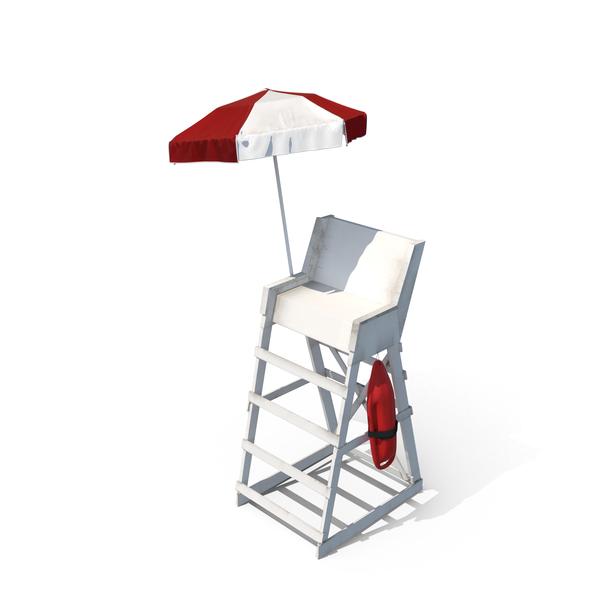 Lifeguard Chair with Umbrella PNG & PSD Images