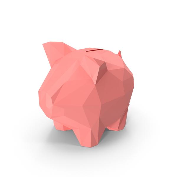 Low Poly Piggy Bank PNG & PSD Images
