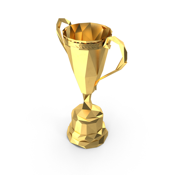 Low Poly Gold Trophy PNG & PSD Images