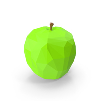 Low Poly Green Apple PNG & PSD Images