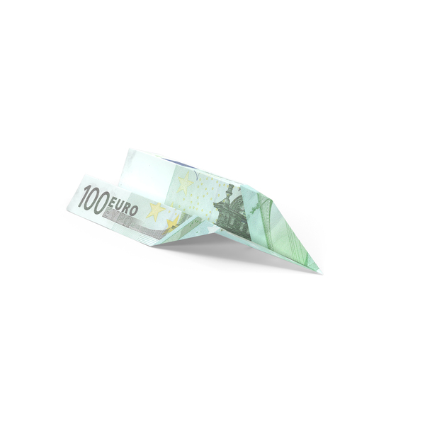 100 Euro Bill Paper Airplane Object