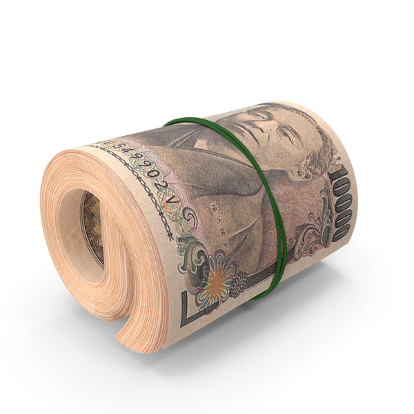 10000 Japanese Yen Banknote Roll PNG & PSD Images