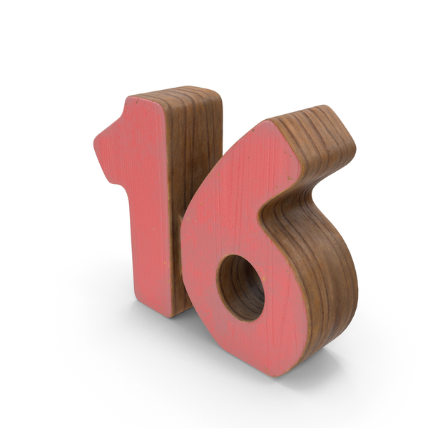 Number: 16 Wooden with Paint PNG & PSD Images