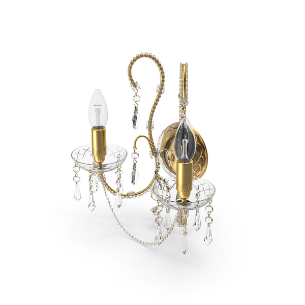 2 Bulbs off  Wall Classical Crystal Lamp PNG & PSD Images