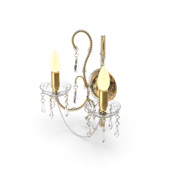 2  Bulbs Wall Crystal Classical Lamp PNG & PSD Images