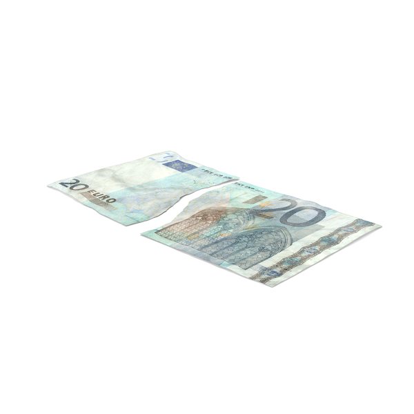 Twenty Note: 20 Euro Bill Torn PNG & PSD Images