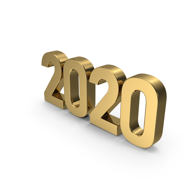 New Year's Letters: 2020 Gold PNG & PSD Images