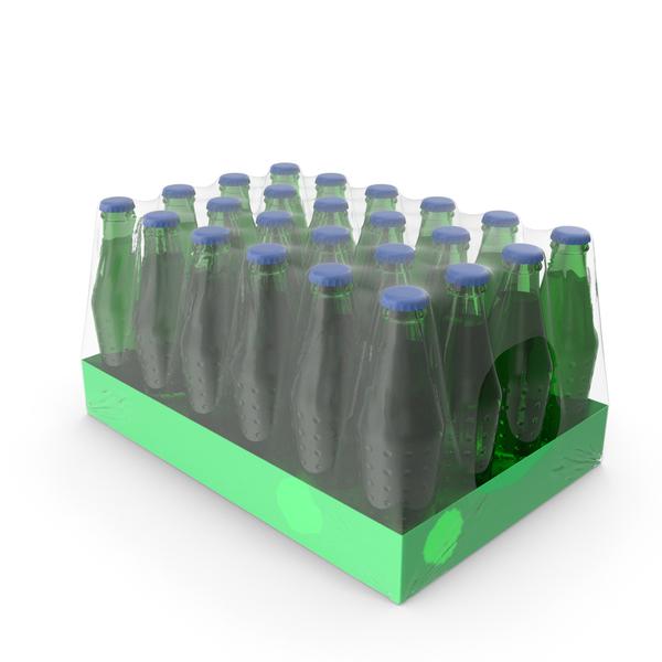 24 Green Soda Bottle Case PNG & PSD Images