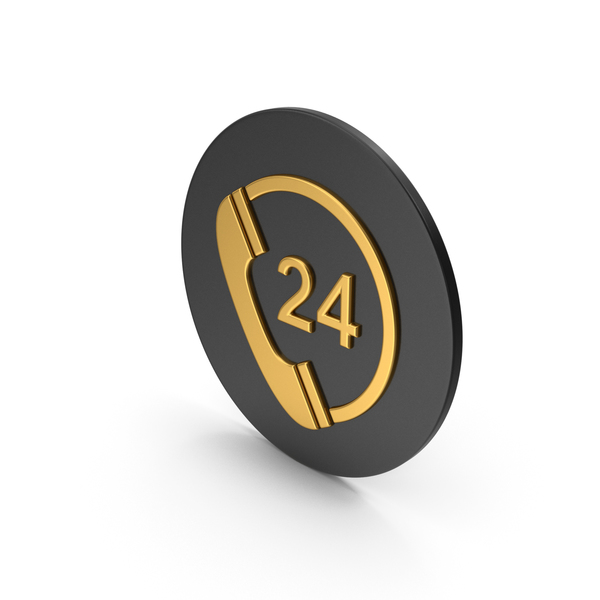 Computer: 24 Hours Phone Service Gold Icon PNG & PSD Images
