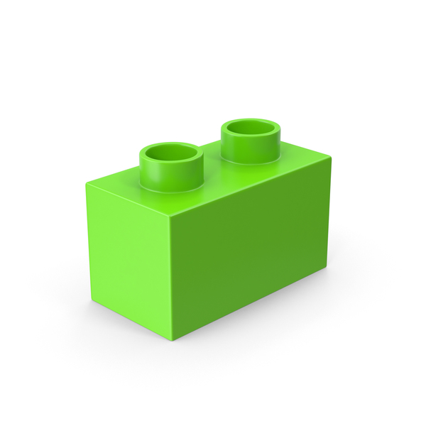 2x1 Green Brick Toy PNG & PSD Images