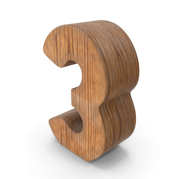 3 Wooden Number PNG & PSD Images