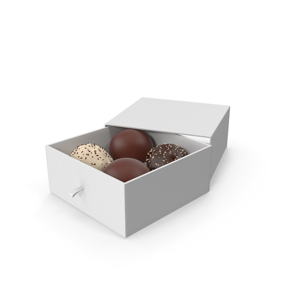 4 Assorted Chocolate with White Gift Box PNG & PSD Images