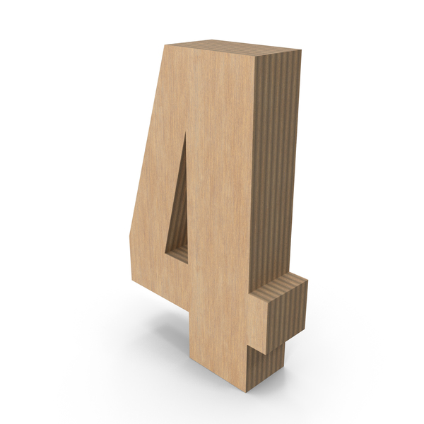 Number: 4 Wood PNG & PSD Images