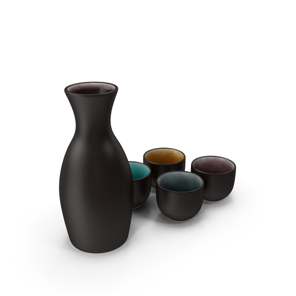 5 Piece Ceramic Sake Set PNG & PSD Images