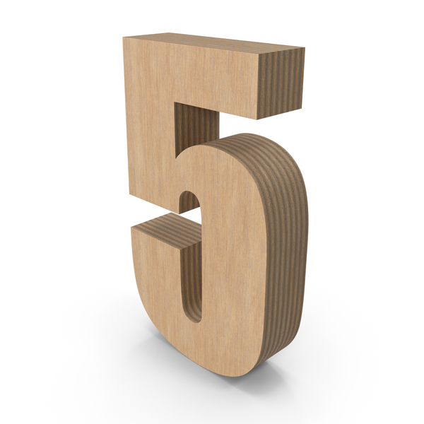 Number: 5 Wood PNG & PSD Images