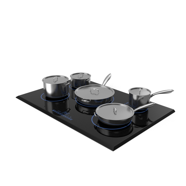 Cooktop: 5 Zone Induction Hob with Stainless Tableware PNG & PSD Images