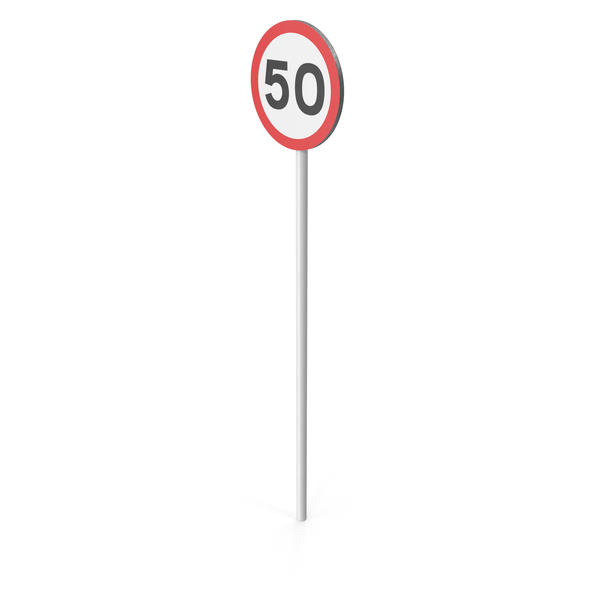 50km Speed Limit Sign PNG & PSD Images