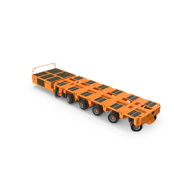 Cargo Trailer: 6 Axle Lines Modular Transporter Goldhofer Orange PNG & PSD Images