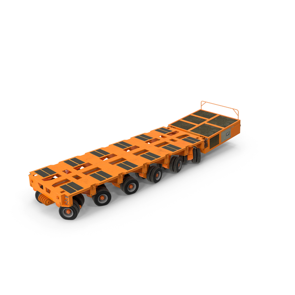 6 Axle Lines Modular Transporter Goldhofer Orange Pose PNG & PSD Images